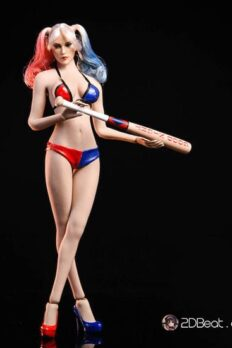 1/6 Scale VSTOYS Harley Quinn Head Sculpt & Swimsuit Baseball Bat Bikini Set