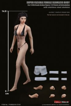 1/12 Scale TBleague PHICEN T01A Female Seamless Body Pale Skin with Head Sculpt
