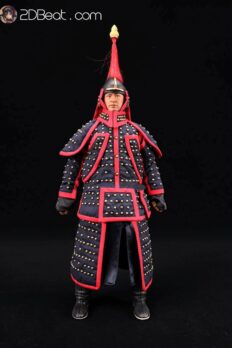 [In-stock] 1/6 China Qing Dynasty Blue With Red Trim Banner Helmet & Armour Accessories Set