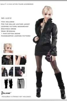 Dollsfigure CC212 Female Fox Fur Collar Leather Jacket for Phicen Verycool Kumik