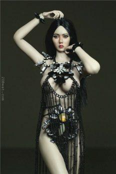Phicen Female Custom 1/6 Goddess Metal Black Fringed Skirt Dress