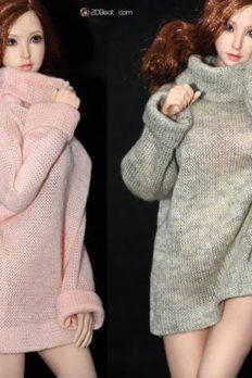 "1/6 Scale Women's Winter Long Knitted Sweater Dress Fit 12"" Female Body"