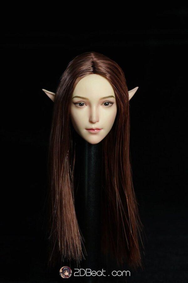 1/6 Elf Female Head Sculpt Pale Skin Interchangeable Ears / Brown Hair by Super Duck